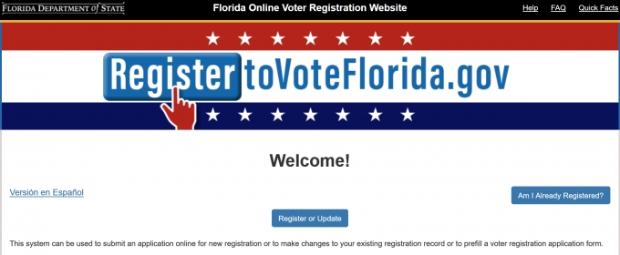 Florida Voter Registration Online!